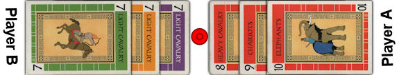 Battle Line Card Game opponent card face-off
