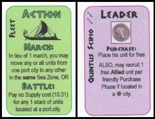 Caesar XL Board Game Review - Caesar's starting card hand
