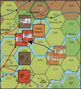 Central America Board Game - Ground Combat example #2 (with Insurgency Units)
