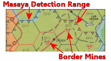 Central America Board Game - Detection Ranges