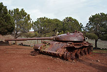 Bar Lev 14 - destroyed Syrian T-62 commemorating the Valley of Tears