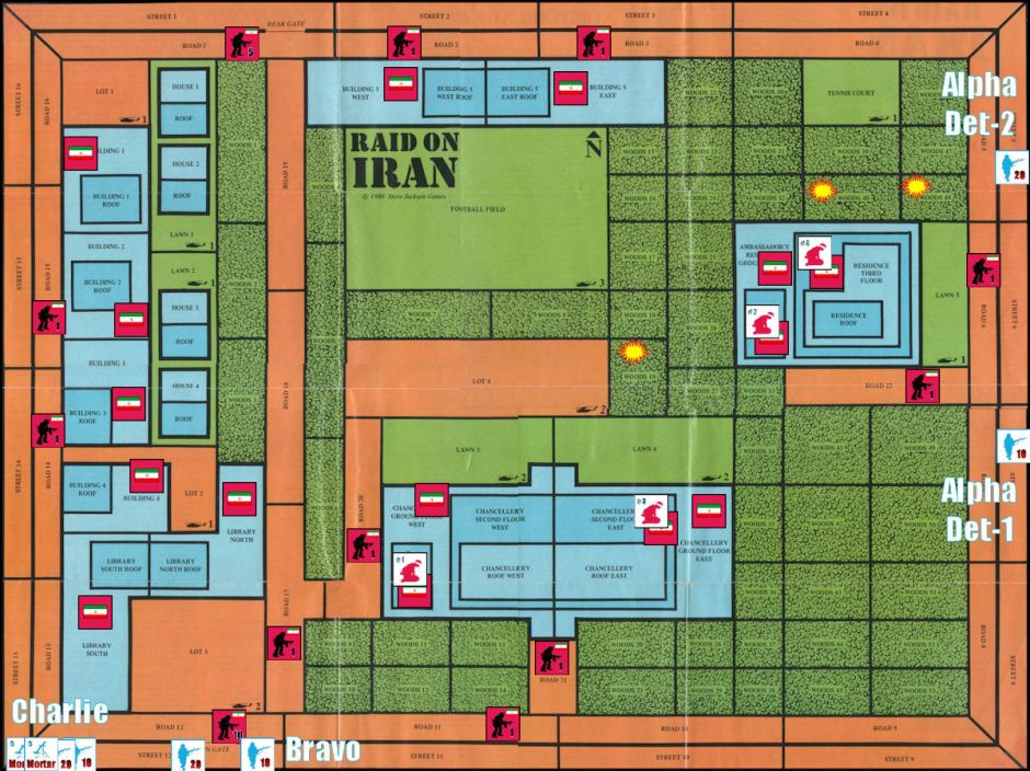 Raid on Iran Board Game - Replay - Starting Positions