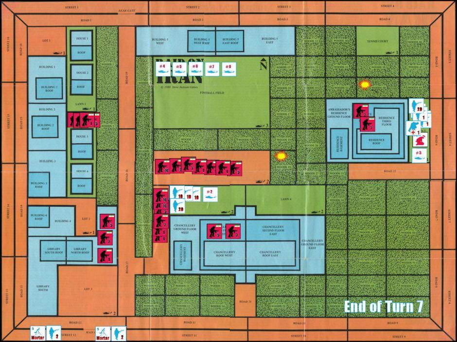 Raid on Iran Board Game Replay - End of Game Turn 7