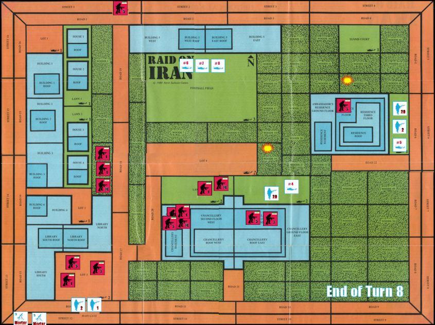 Raid on Iran Board Game Replay - End of Game Turn 8