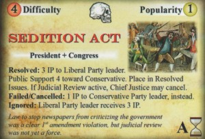 Founding Fathers board game - Sedition Act card